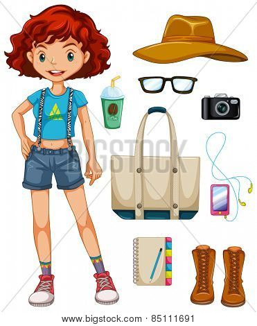 Girl hipster with many personal items