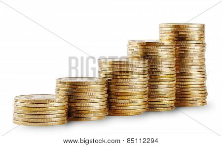 Rising columns of golden coins