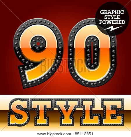 Vector set of industrial style orange font with black rivet border. Numbers  9 0