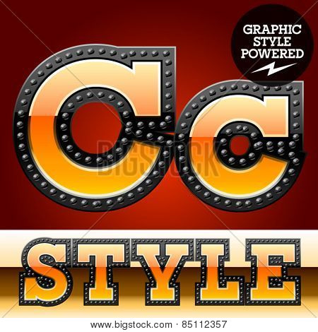 Vector set of industrial style orange font with black rivet border. Letter C
