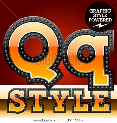 Vector set of industrial style orange font with black rivet border. Letter Q