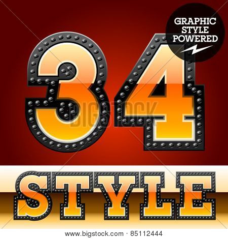 Vector set of industrial style orange font with black rivet border. Numbers 3 4