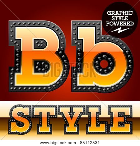 Vector set of industrial style orange font with black rivet border. Letter B