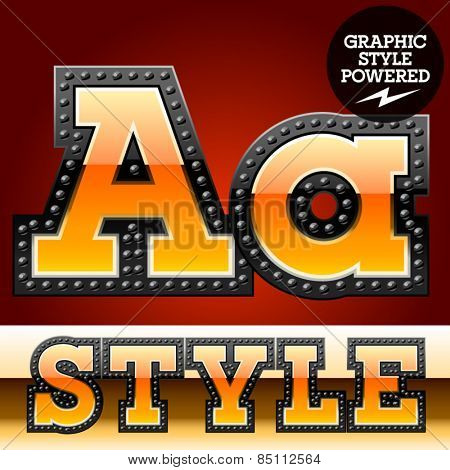 Vector set of industrial style orange font with black rivet border. Letter A