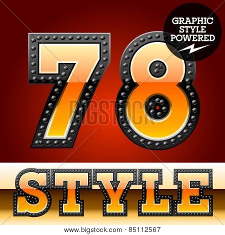 Vector set of industrial style orange font with black rivet border. Numbers 7 8