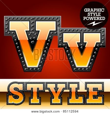 Vector set of industrial style orange font with black rivet border. Letter V