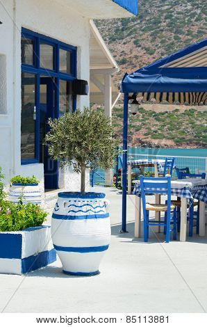 Crete terrace by the sea. Greece.