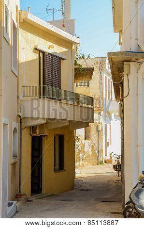 Winding street in Rethymnon . Greece.