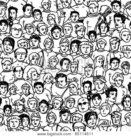 Hand Drawn People Characters Unrecognizable. Seamless pattern