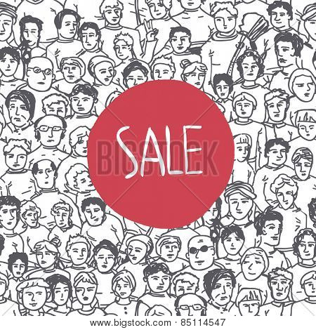 Hand Drawn People Characters Unrecognizable Seamless pattern with Sale Label