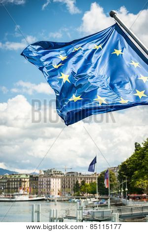 EU flag against blue sky