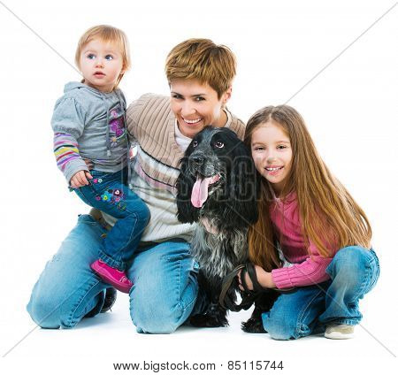 happy family with black  cocker spaniel isolated on white background