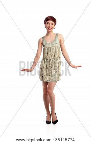Joking fashion model wearing white dress