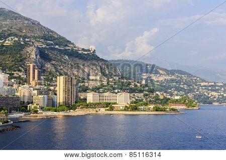 Mediterranean sea coast with view of Larvotto ward and beach in Monaco.