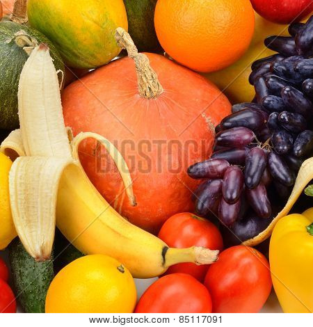 collection fresh fruit and vegetable