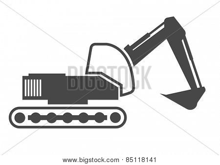 detailed illustration of an excavator outline, eps10 vector