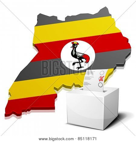 detailed illustration of a ballot box in front of a map of Uganda, eps10 vector
