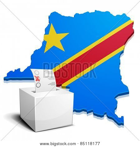 detailed illustration of a ballot box in front of a map of the democratic republic of the Congo, eps10 vector