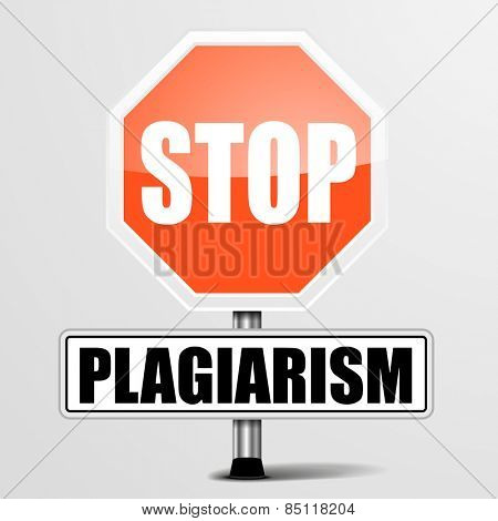 detailed illustration of a red stop Plagiarism sign, eps10 vector