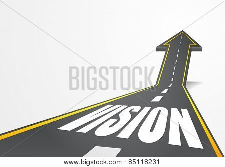 detailed illustration of a highway road going up as an arrow with vision text, eps10 vector