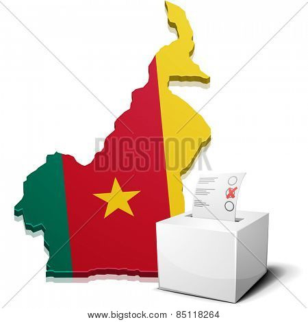 detailed illustration of a ballot box in front of a map of Cameroon, eps10 vector