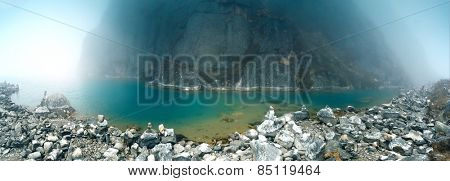 View of sacred Gokyo lake on Gokyo/Everest Base Camp trek, Everest Region, Nepal.