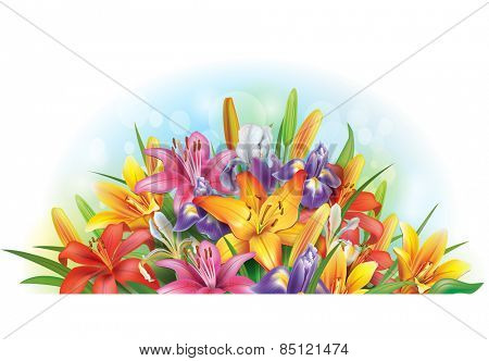 Arrangement of lilies and irises