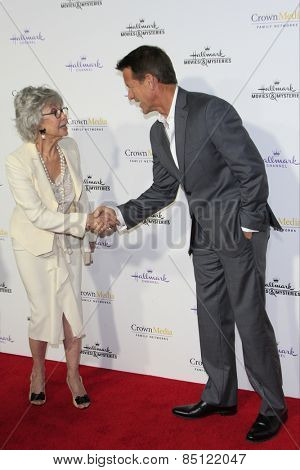 LOS ANGELES - JAN 8: Rita Moreno, James Denton at the TCA Winter 2015 Event For Hallmark Channel and Hallmark Movies & Mysteries at Tournament House on January 8, 2015 in Pasadena, CA