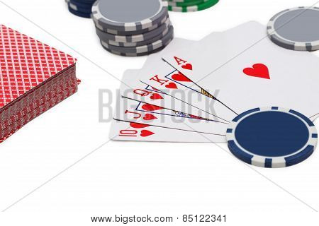 Poker, Royal Flush And Gambling Chips