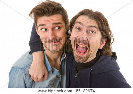 two young casual silly men, isolated on white