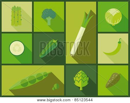 Green vegetable icons vector illustration. Flat design illustration with a variety of green vegetable icons.