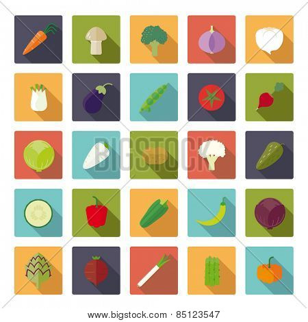 Vegetables Flat Icons Vector Icon Set. Collection of 25 vegetables icons in rounded squares, flat design, long shadow.
