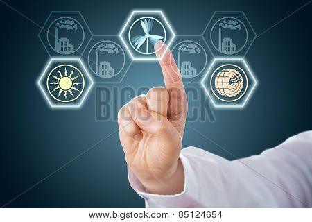 Male Hand Activating Renewable Energy Icons.