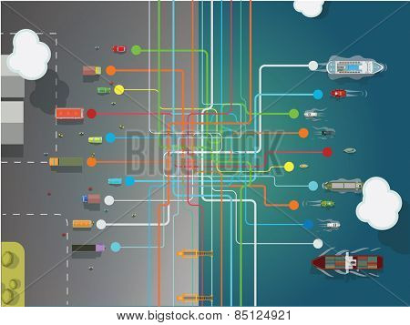 traffic network, transportation concept background vector illustration