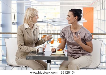 Mid-adult casual caucasian businesswomen talking about business at trendy cafe, sitting at table, having fun.