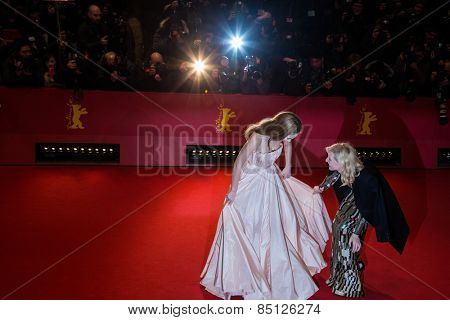 BERLIN, GERMANY - FEBRUARY 13: Cate Blanchett, Lily James attend the 'Cinderella' premiere during the 65th Berlinale Film Festival at Berlinale Palace on February 13, 2015 in Berlin, Germany.