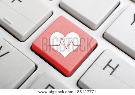 Red heart pluse key on keyboard