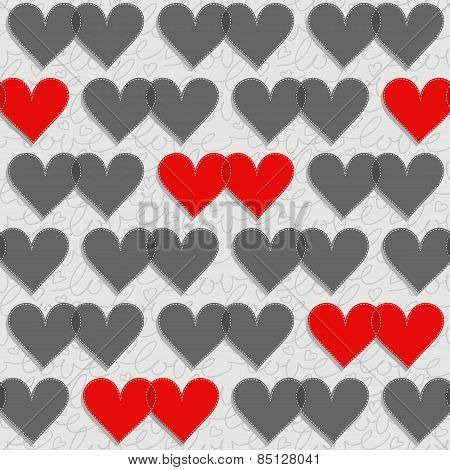 red and gray hearts lovely Valentine's day seamless pattern on light gray patterned background