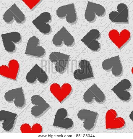 red and gray messy hearts lovely Valentine's day seamless pattern on light gray patterned background