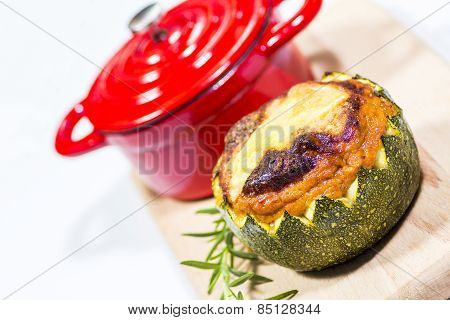 Stuffed Zucchini And Red Saucepan
