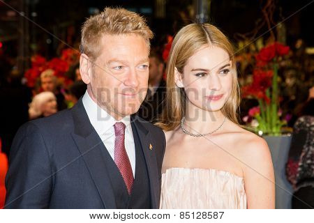 BERLIN, GERMANY - FEBRUARY 13: Kenneth Branagh, Lily James. 'Cinderella' premiere during the 65th Berlinale Film Festival . Berlinale Palace on February 13, 2015 in Berlin, Germany.