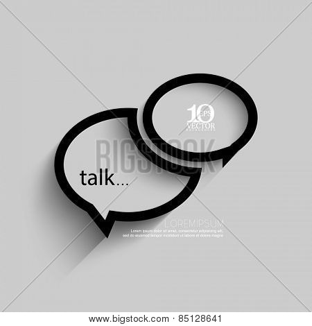 eps10 vector embossed speech balloon outline concept design