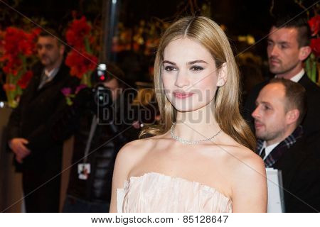 BERLIN, GERMANY - FEBRUARY 13: Lily James attends the 'Cinderella' premiere during the 65th Berlinale Film Festival at Berlinale Palace on February 13, 2015 in Berlin, Germany.