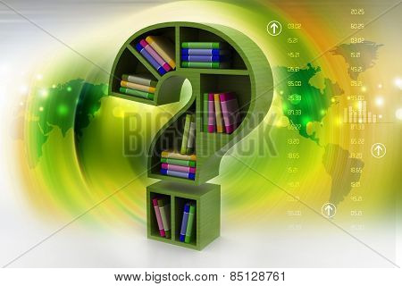 Book shelf in the model of question mark