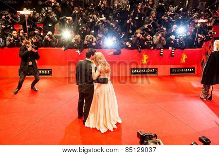 BERLIN, GERMANY - FEBRUARY 13, 2015: Lilly James and Richard Madden attend the 'Cinderella' premiere during the 65th Berlinale International Film Festival at Berlinale Palace