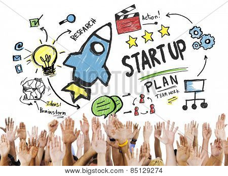 Start Up Business Launch Success Hands Volunteer Concept