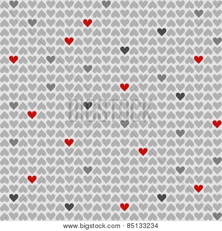 red and gray little hearts lovely romantic Valentine's day seamless pattern on light gray background