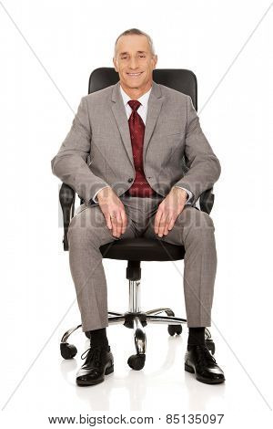 Smiling mature businessman sitting on armchair.