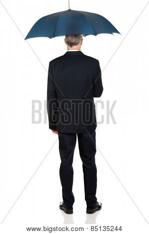 Full length back view businessman with umbrella.