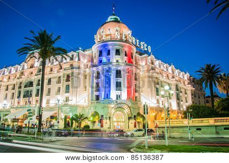 NICE - JULY 5: Negresco Hotel in Nice on July 5, 2013 in Nice. Negresco Hotel is the most famous hotel in French Riviera